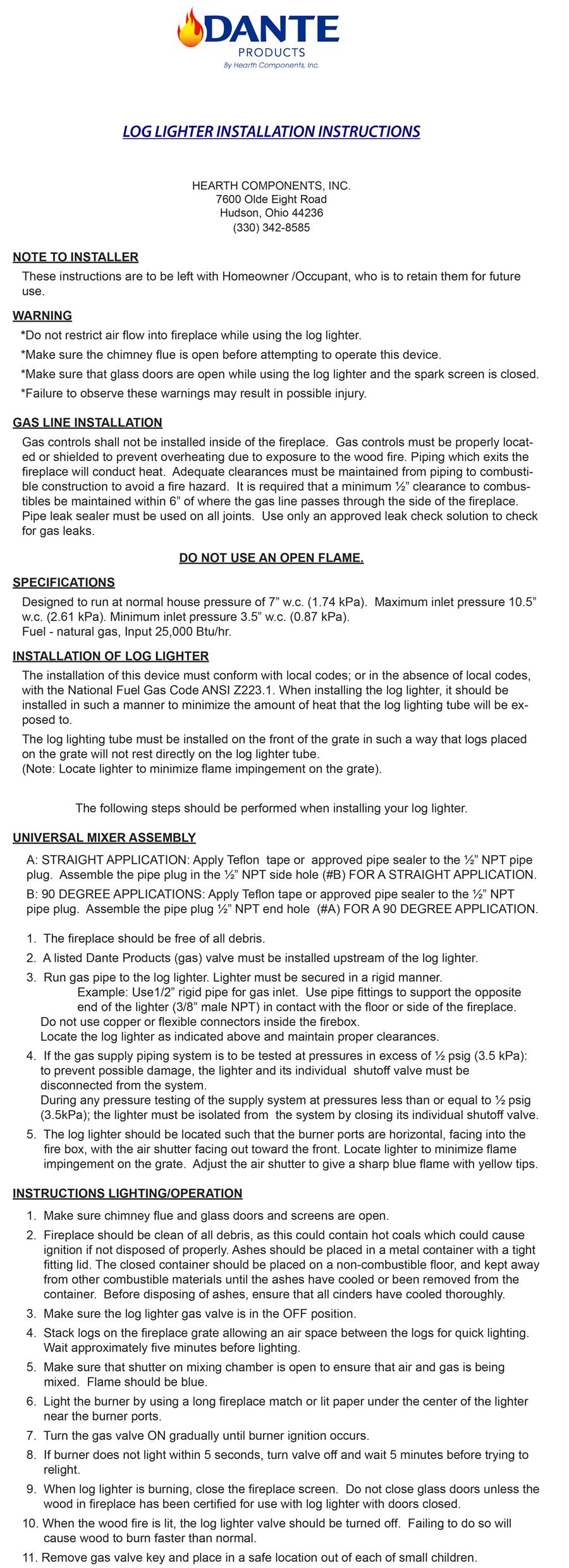 Dante Log Lighter Burner Installation Manual