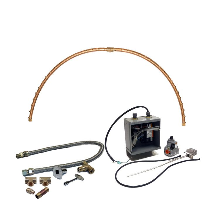 Warming Trends Crossfire 24V Electronic Spark Ignition Half-Circle Brass Gas Fire Pit Burner Kits