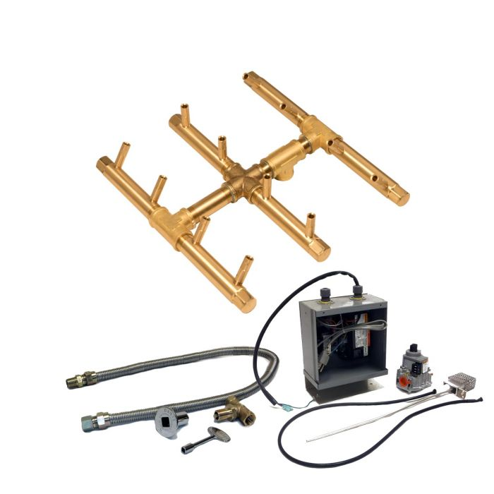 Warming Trends Crossfire 24V Electronic Spark Ignition Square Tree-Style Brass Gas Fire Pit Burner Kits