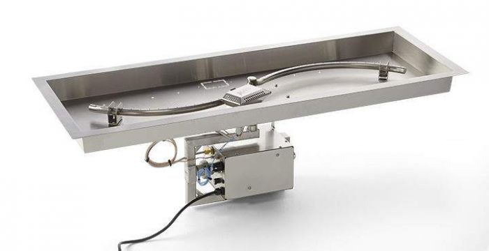 Hearth Products Controls CSA Approved Electronic Ignition Gas Fire Pit Kit, Rectangular Bowl Pan
