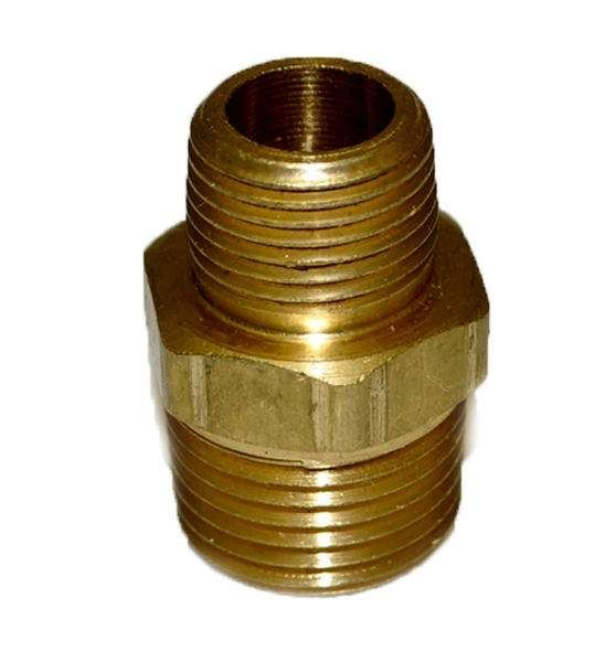 HPC Brass Reducing Nipple, 1/2-Inch MIP to 3/8-Inch MIP