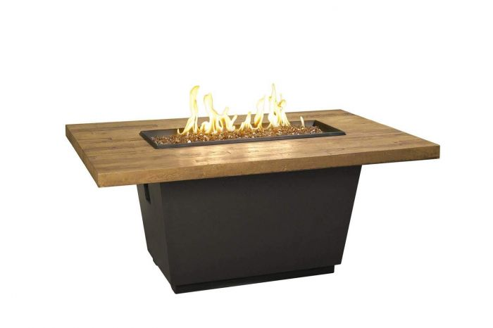 French Oak French Barrel Oak Cosmo Chat Height Fire Table, Rectangle