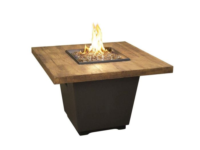French Oak French Barrel Oak Cosmo Chat Height Fire Table, Square