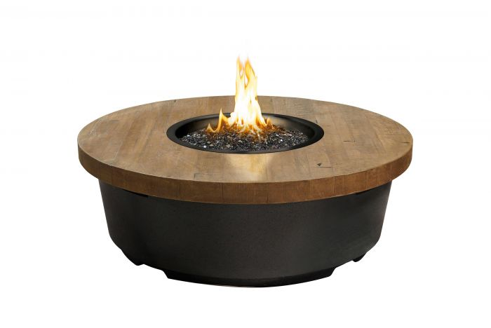 French Oak Reclaimed Wood Contempo Chat Height Fire Table, Round