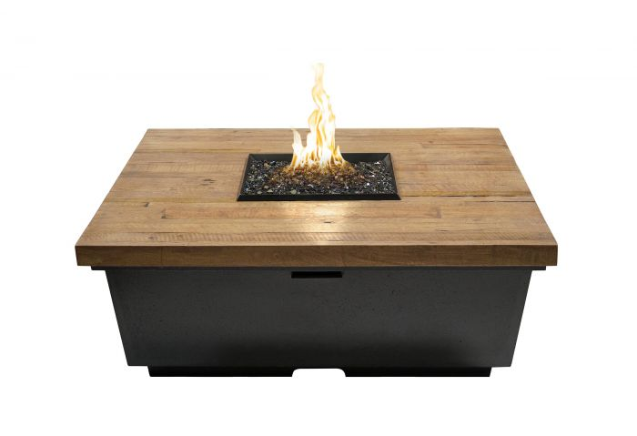 French Oak Reclaimed Wood Contempo Chat Height Fire Table, Square