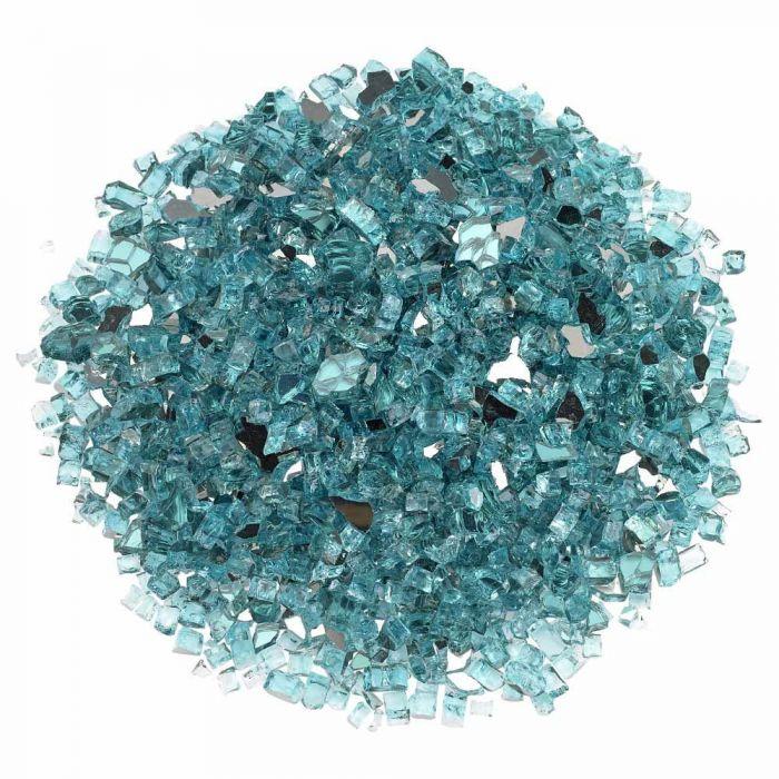 American Fireglass 10-Pound Premium Fire Glass, 1/4 Inch, Azuria Reflective