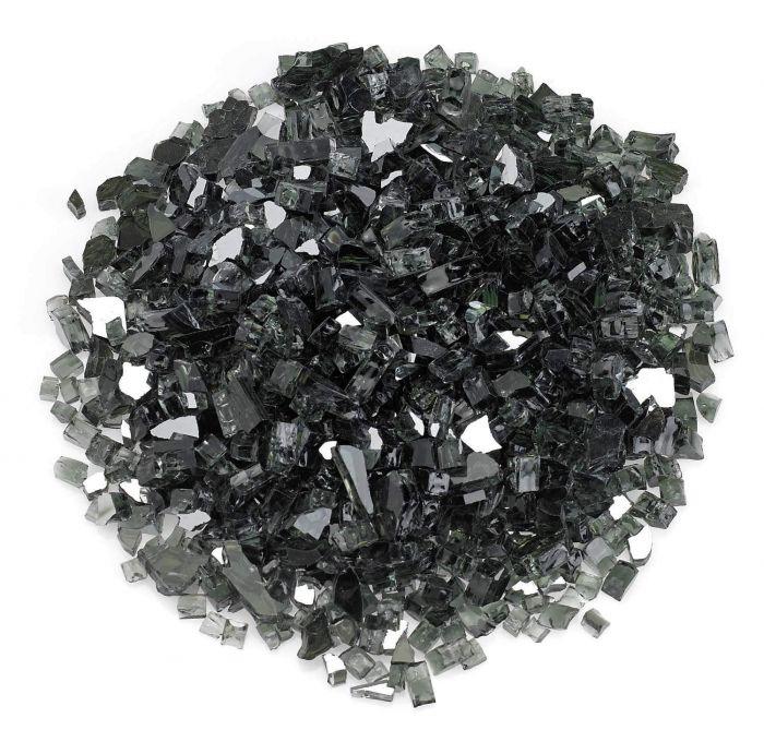 American Fireglass 10-Pound Premium Fire Glass, 1/4 Inch, Black Reflective