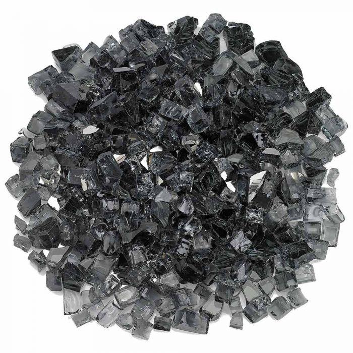 American Fireglass 10-Pound Premium Fire Glass, 1/2 Inch, Gray Reflective