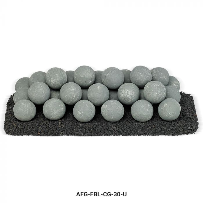 American Fireglass Uniform Ceramic Lite Stone Balls, Cape Gray