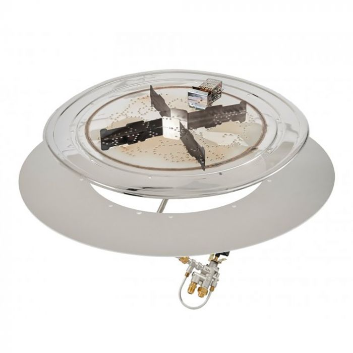 The Outdoor GreatRoom Company BP-RD-SPK-A Round Stainless Steel Crystal Fire Plus Gas Burner Kit with Spark Ignition