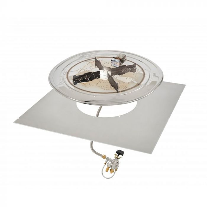 The Outdoor GreatRoom Company BP-SQ-SPK-A Square Stainless Steel Crystal Fire Plus Gas Burner Kit with Spark Ignition