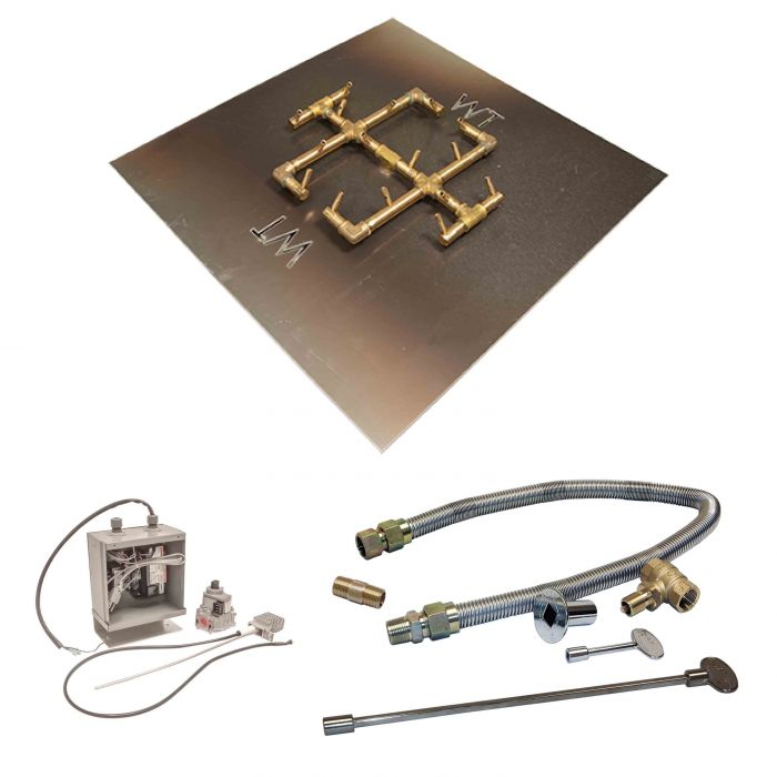 Crossfire by Warming Trends CFB-24VIK 24 Volt Electronic Spark Ignition Original Brass Gas Fire Pit Burner Kit