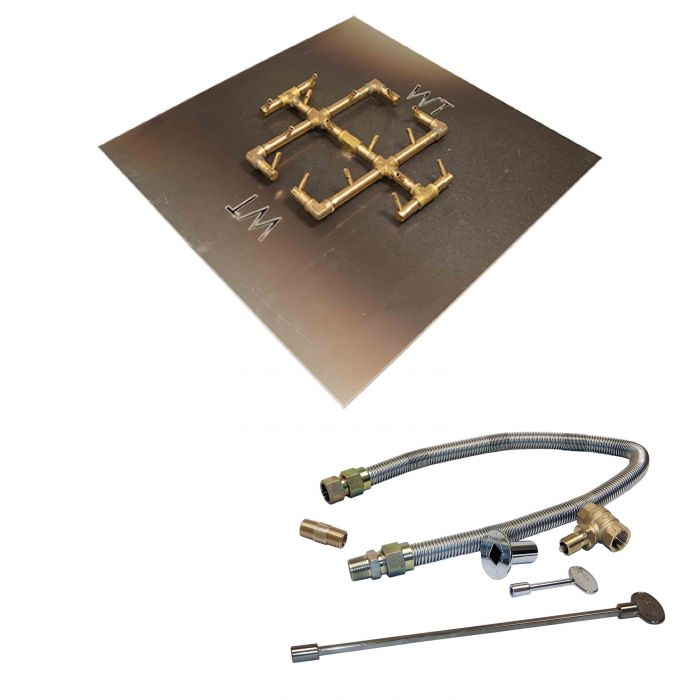 Warming Trends Crossfire Match Lit Original Brass Gas Fire Pit Burner Kits
