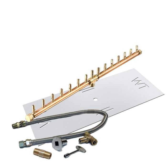 Warming Trends Crossfire Match Lit Linear Brass Gas Fire Pit Burner Kit