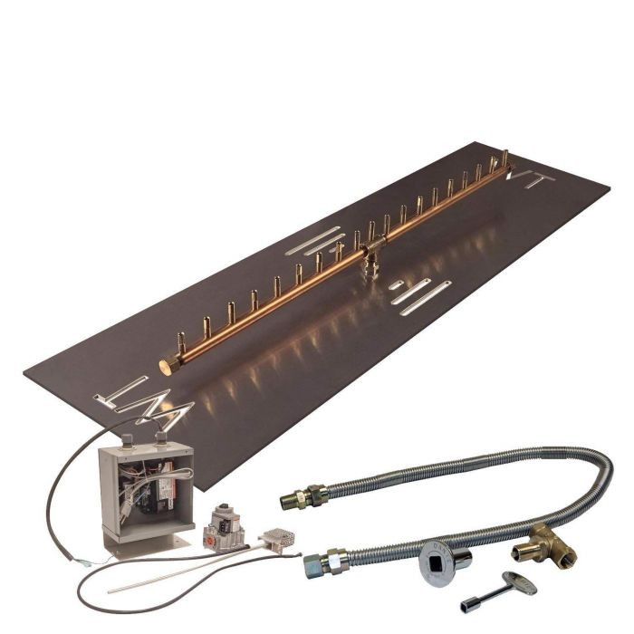 Warming Trends Crossfire 24V Electronic Spark Ignition Linear Brass Gas Fire Pit Burner Kits