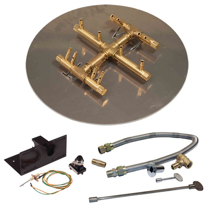 Crossfire by Warming Trends CFBCT-PBIK Push Button Spark Ignition Round Tree-Style Brass Gas Fire Pit Burner Kit