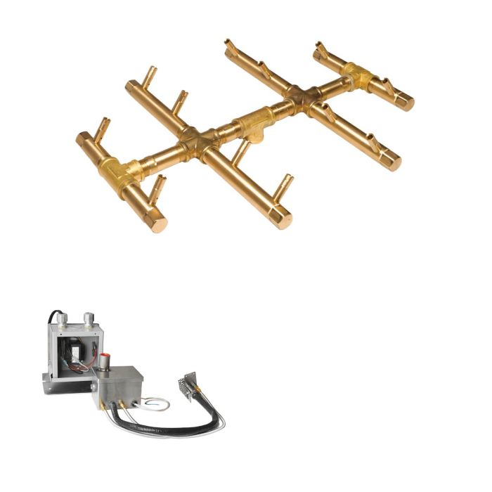Warming Trends Crossfire 24V Electronic Hot Surface Ignition Round Tree-Style Brass Gas Fire Pit Burner Kits