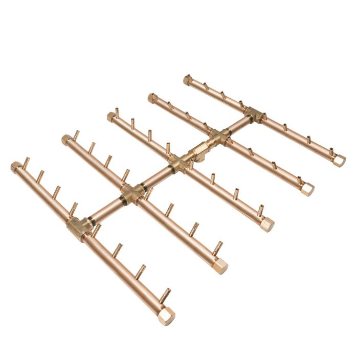 Warming Trends Crossfire Square Tree-Style Linear Brass Fire Pit Burner