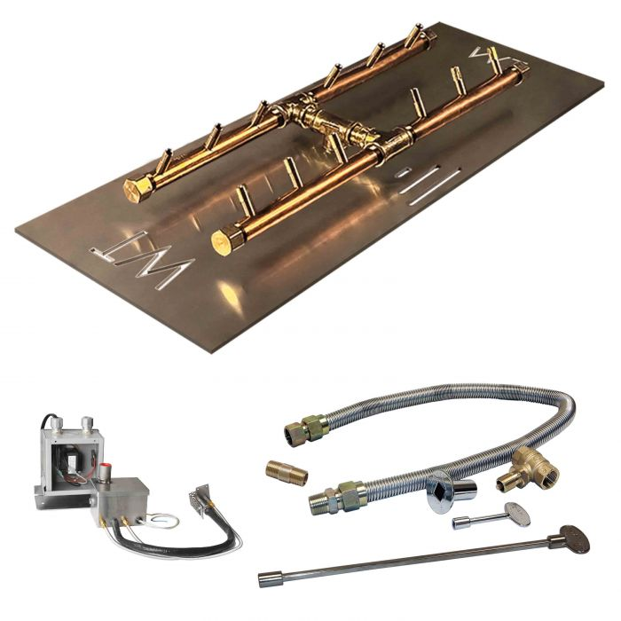 Crossfire by Warming Trends CFBH-P24VIK 24 Volt Hot Surface Electronic Ignition H-Style Brass Gas Fire Pit Burner Kit