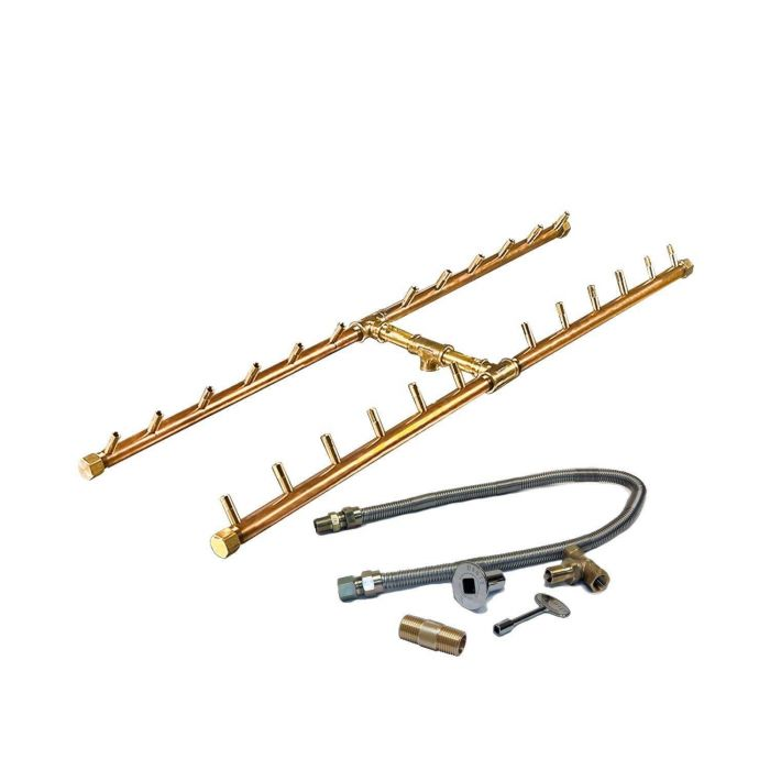 Warming Trends Crossfire Match Lit H-Style Brass Gas Fire Pit Burner Kits