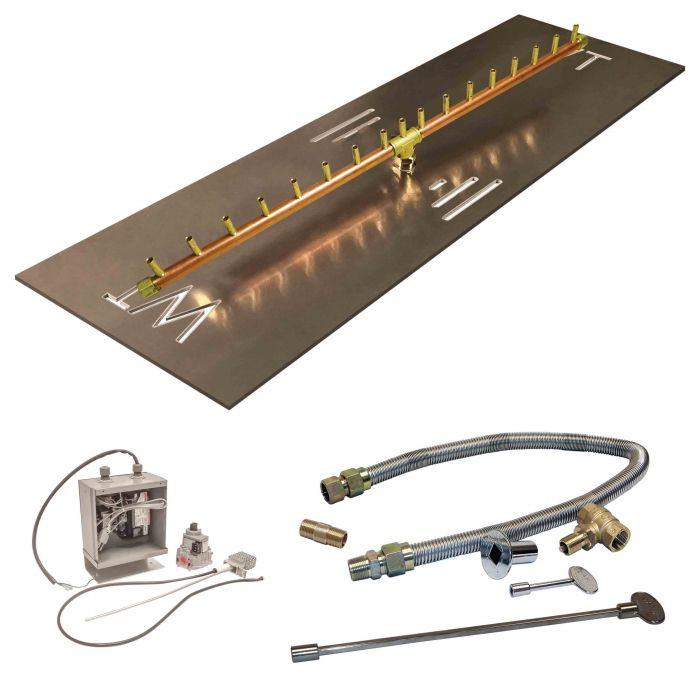Crossfire by Warming Trends CFBL-24VIK 24 Volt Electronic Spark Ignition Linear Brass Gas Fire Pit Burner Kit