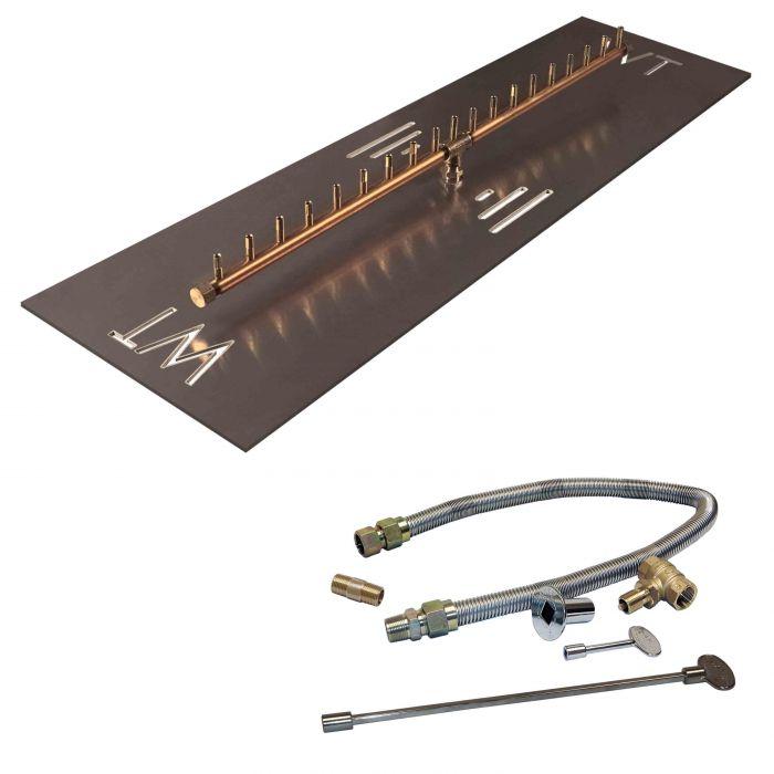 Warming Trends Crossfire Match Lit Linear Brass Gas Fire Pit Burner Kit