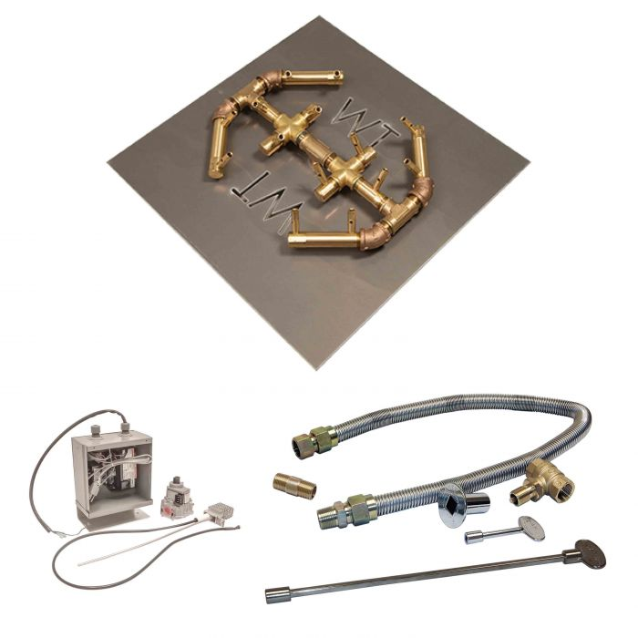 Crossfire by Warming Trends CFBO-24VIK 24 Volt Electronic Spark Ignition Octagonal Tree-Style Brass Gas Fire Pit Burner Kit