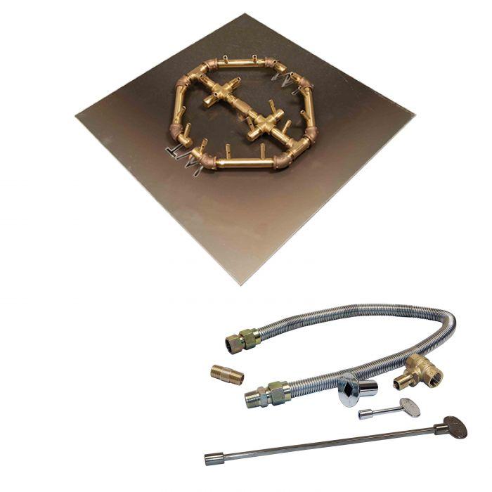 Warming Trends Crossfire Match Lit Octagonal Tree-Style Brass Gas Fire Pit Burner Kit