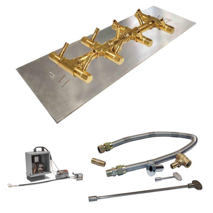 Crossfire by Warming Trends CFBT-3VIK 3 Volt Electronic Spark Ignition Linear Tree-Style Brass 13.75x5.25-Inch (110K BTU) Gas Fire Pit Burner Kit