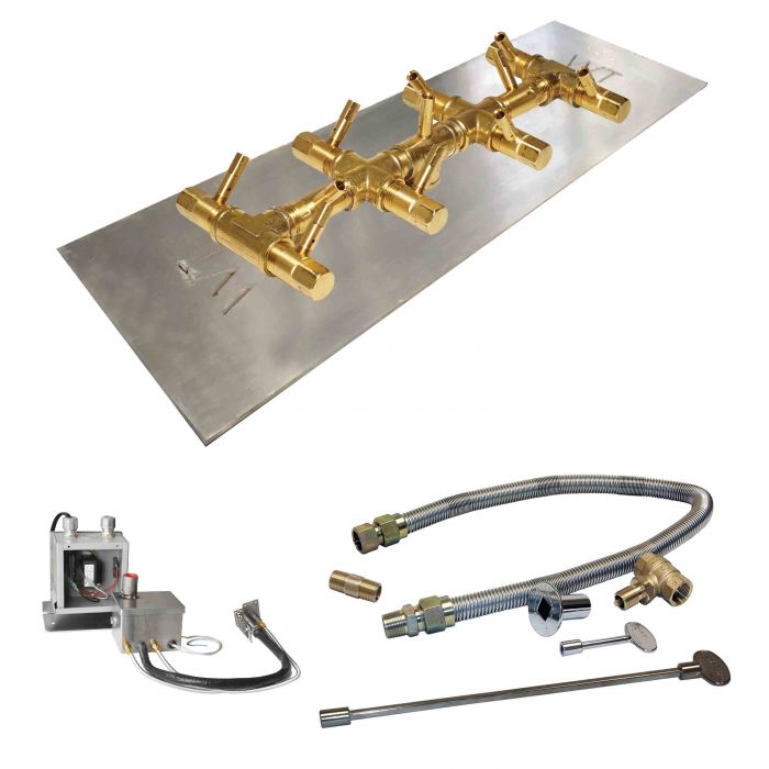 Crossfire by Warming Trends CFBT-P24VIK 24 Volt Hot Surface Electronic Ignition Linear Tree-Style Brass Gas Fire Pit Burner Kit