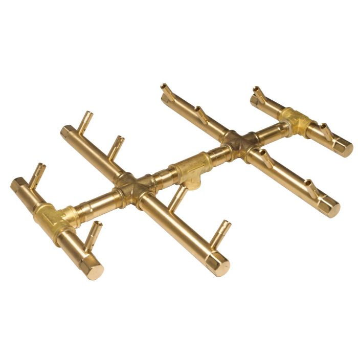 Warming Trends Crossfire Round Tree-Style Linear Brass Fire Pit Burner