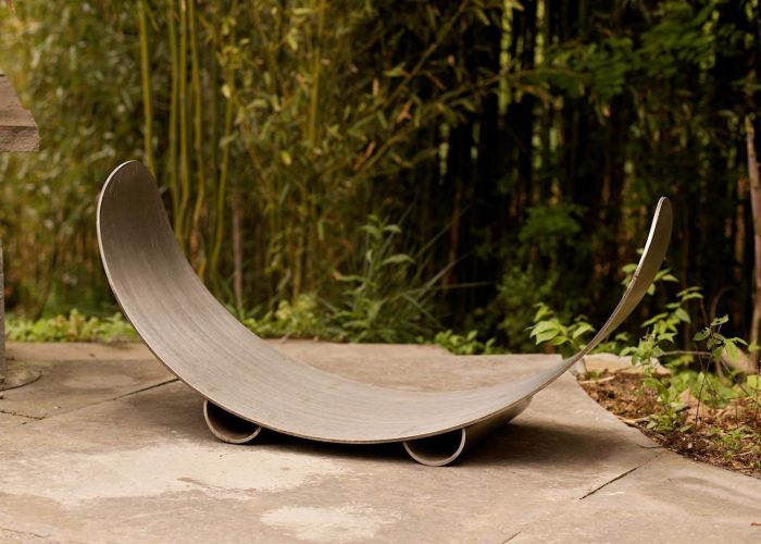 Fire Pit Art CRLR-Stainless Crescent Wood Log Rack, Stainless Steel