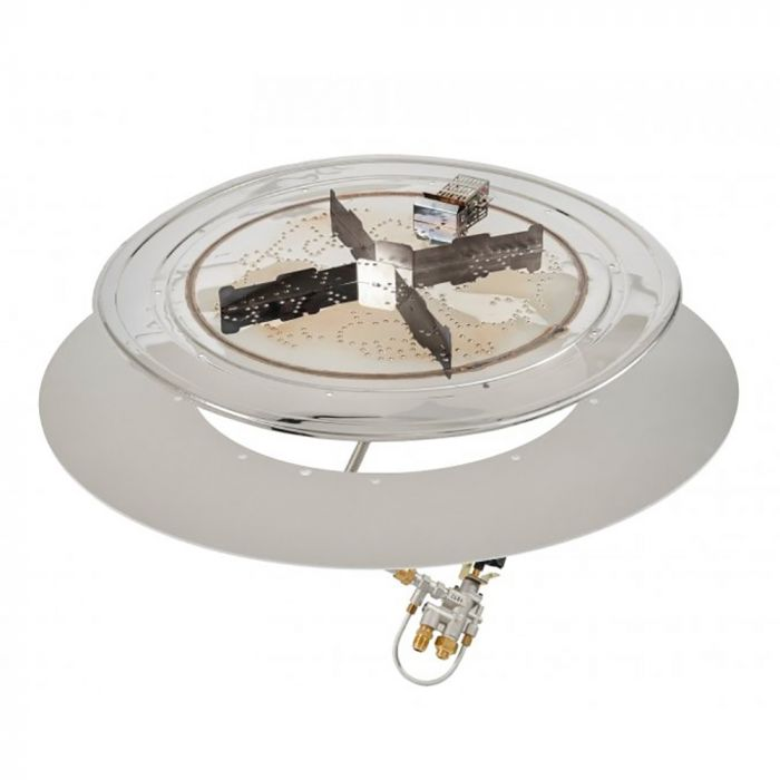 The Outdoor GreatRoom Company DIY-RD-KIT Round Do-It-Yourself Hardscape Gas Fire Pit Kit with Glass Gems