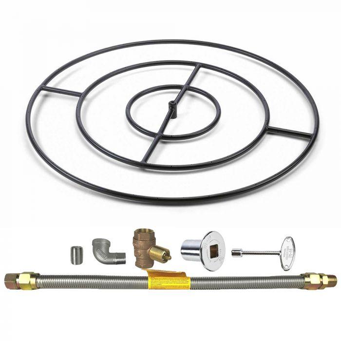Spotix Round HPC Match Lit Fire Pit Burner Kits, Cold Rolled Steel