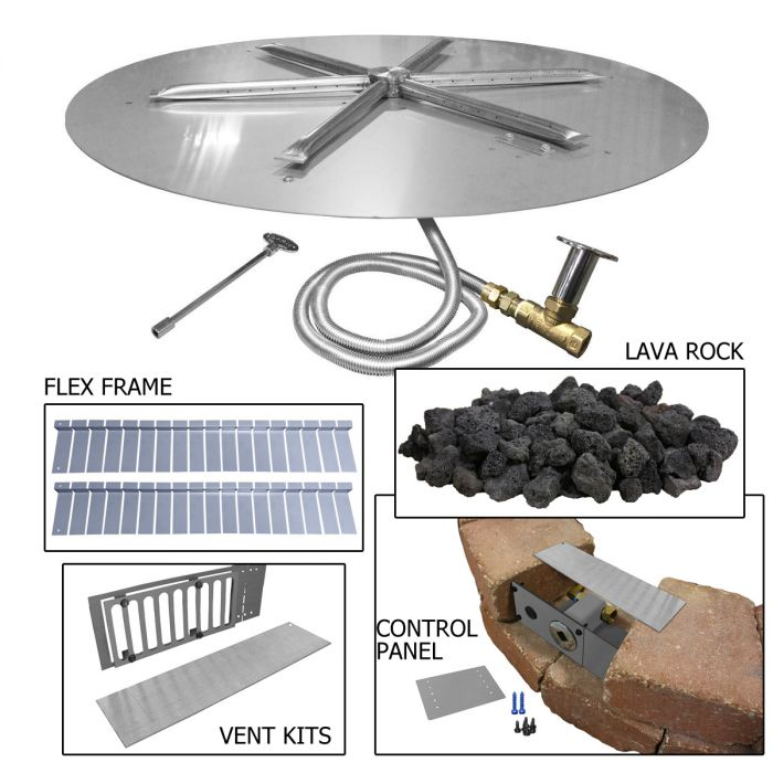 Firegear FPB-29-PK Round Gas Fire Pit Burner Kit for Paver Blocks