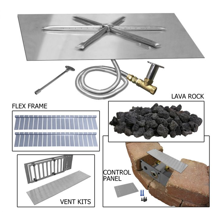 Firegear PAVER-VENT-6-LNT Paver Vent Kit with Mounting Plate and Lintel, 5.625x8-inches