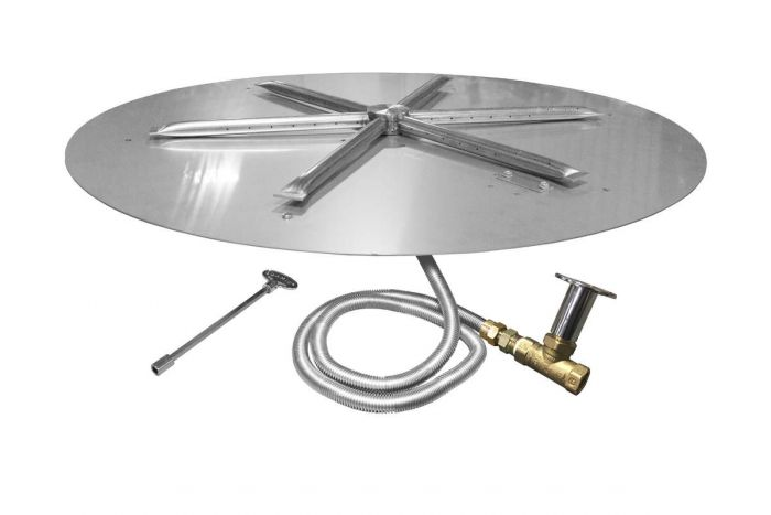 Firegear FPB-DBSMT Match Light Gas Fire Pit Burner Kit, Round Flat Pan, High Capacity