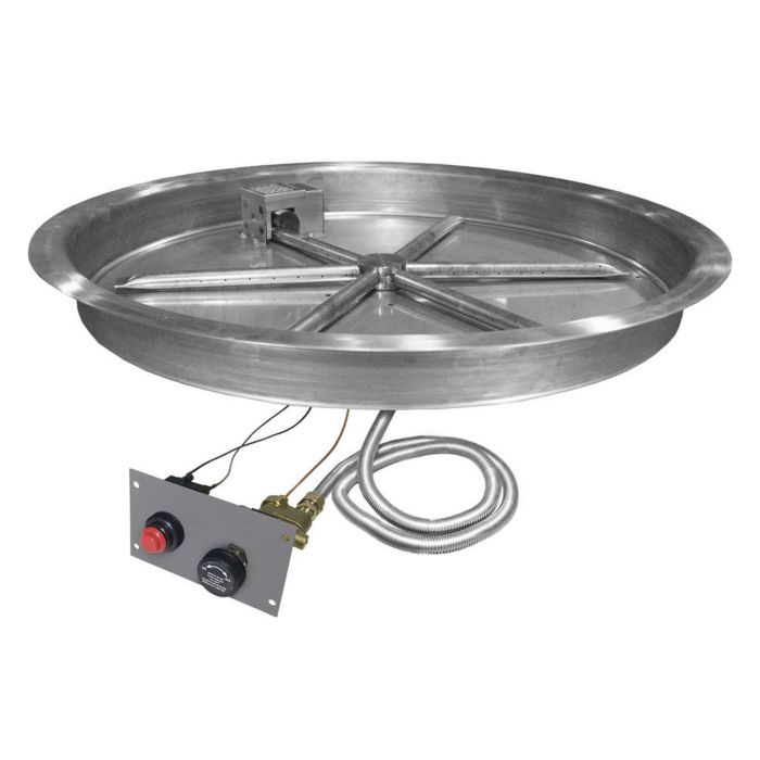 Firegear FPB-RBSTMSI Spark Ignition Gas Fire Pit Burner Kit with Flame Sensing, Round Bowl Pan