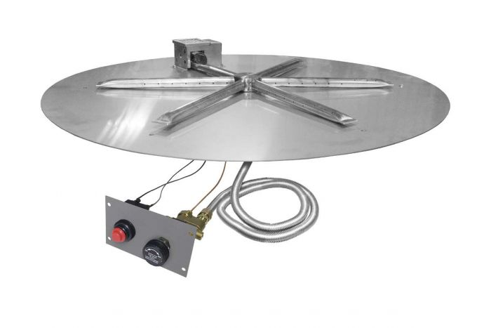 Firegear FPB-DBSTMS UL Listed Match Light Gas Fire Pit Burner Kit with Flame Sensing, Round Flat Pan