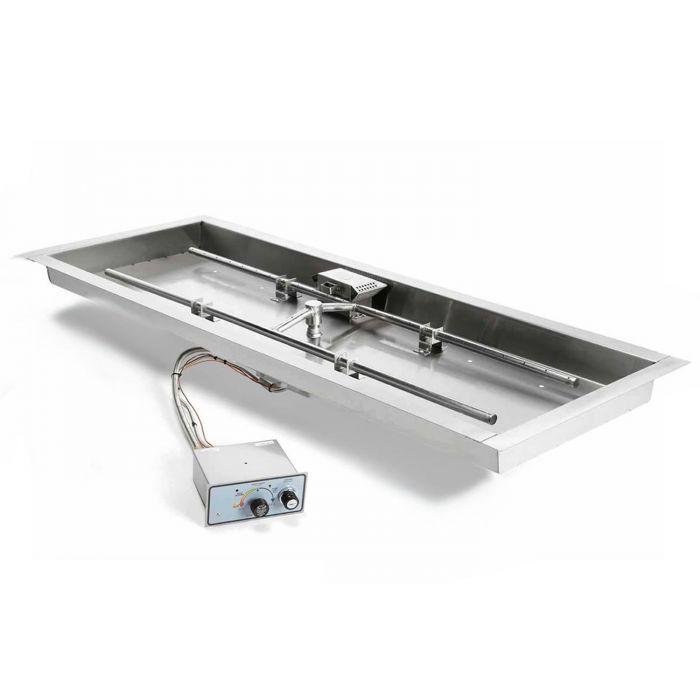 Hearth Products Controls FPPK Push Button Flame Sensing Gas Fire Pit Kit, Rectangular Bowl Pan