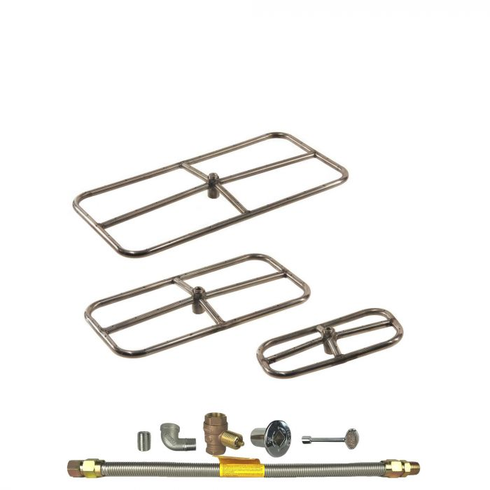 Spotix Rectangle HPC Match Lit Fire Pit Burner Kits