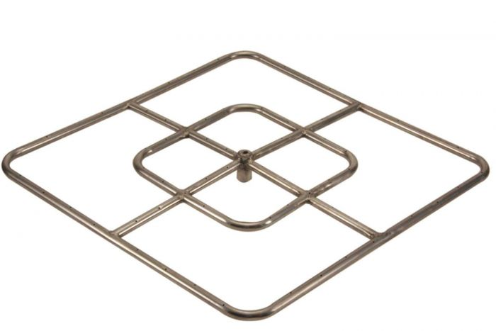 Hearth Products Controls Square Stainless Steel Fire Pit Burner, 24x24-Inch, Propane