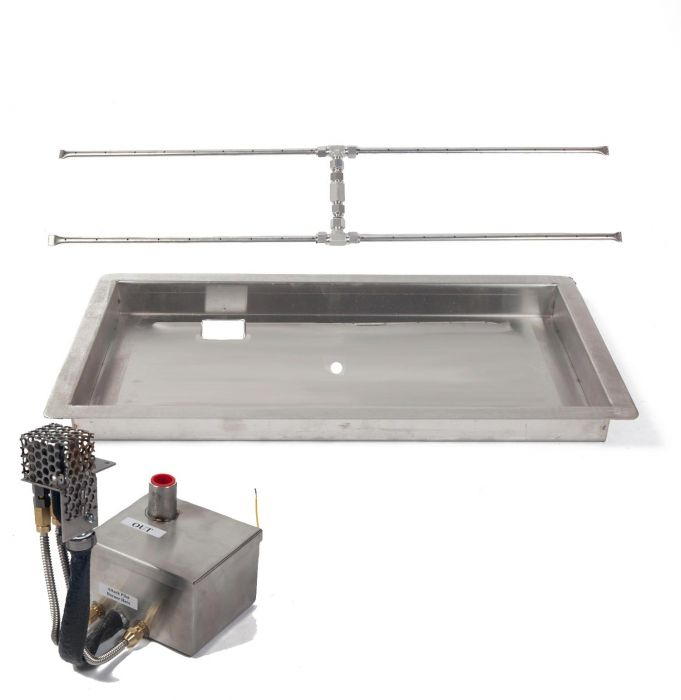 Fire by Design MGRTDIBP-H Electronic Ignition Gas Fire Pit H-Burner Kit with Linear Drop-In Pan