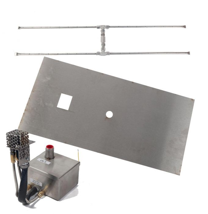 Fire by Design MGRTFBP-H Electronic Ignition Gas Fire Pit H-Burner Kit with Linear Flat Pan