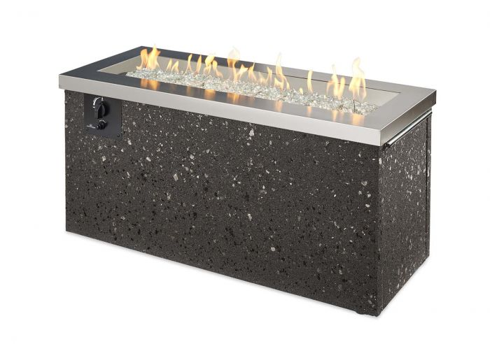 The Outdoor GreatRoom Company KL-1242-SS Key Largo Gas Fire Pit, Stainless Steel, 19.5x48-Inches
