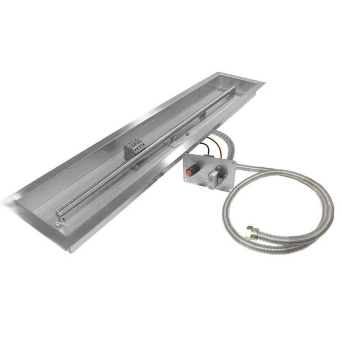 Firegear FPB-LLTTMSI Spark Ignition Gas Fire Pit Burner Kit, Linear Trough Pan