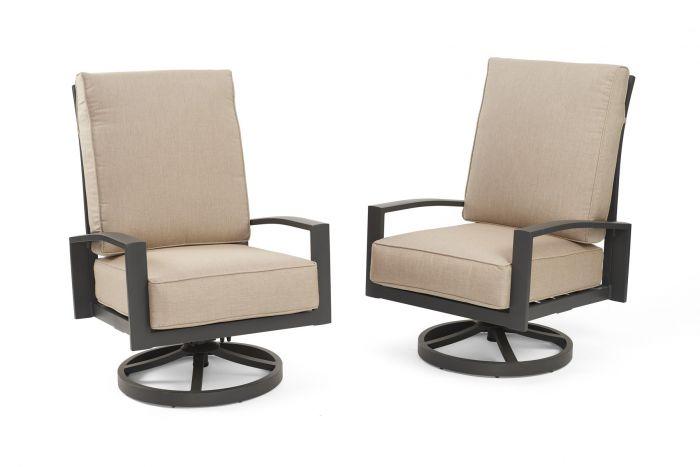 The Outdoor GreatRoom Company LSR Lyndale Highback Swivel Rocker Chair, Set of 2