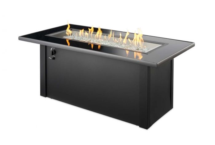 The Outdoor GreatRoom Company MCR-1242-BLK-K Monte Carlo Gas Fire Table, 30x59.25-Inches