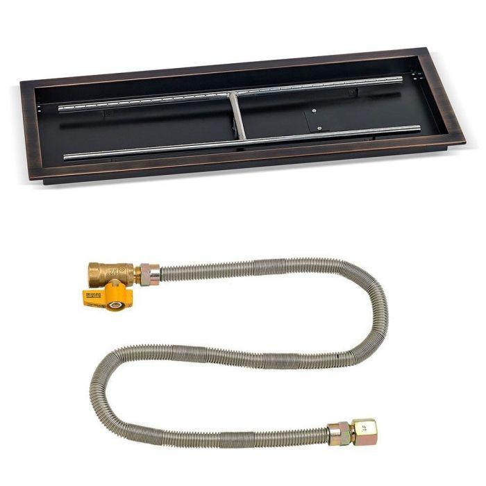 American Fireglass Match Light Fire Pit Kit, Rectangular Bowl Pan, 24x8 Inch, Natural Gas (NG)