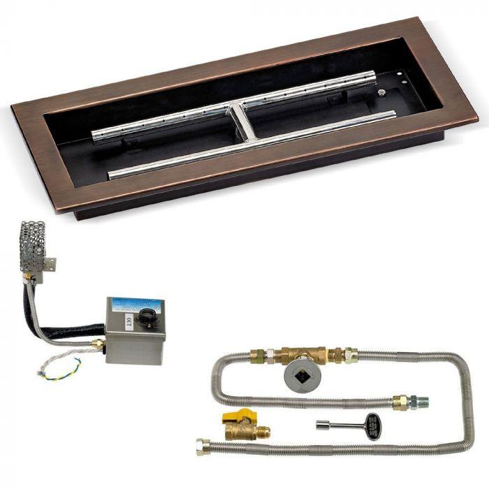 American Fireglass SIT Electronic Ignition Fire Pit Kits, Rectangular Bowl Pans
